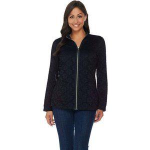 NEW Denim & Co. Lace Zip Front Jacket. XXS Black